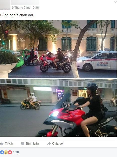 Hình ảnh cô gái trẻ với đôi chân dài miên man cầm lái chiếc mô tô phân khối lớn trên đường Hà Nội khiến cư dân mạng chú ý.