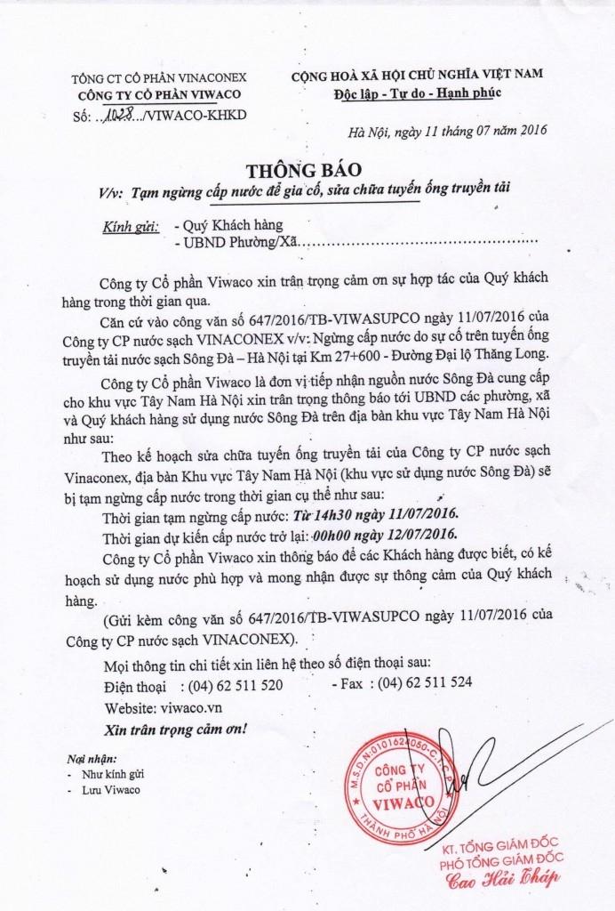 Thông báo ngừng cấp nước của Công ty CP VIWACO.