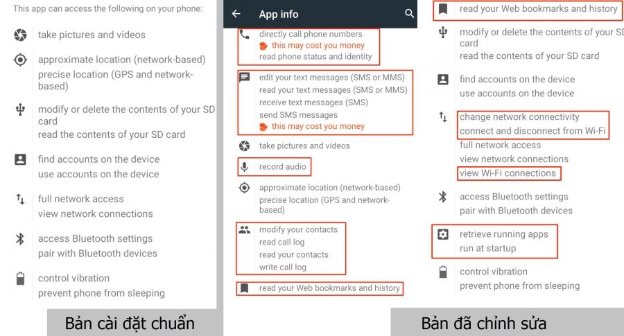 So sánh sự khác nhau giữa bản cài đặt chuẩn tải về từ Google Play và bản APK có chứa mã độc