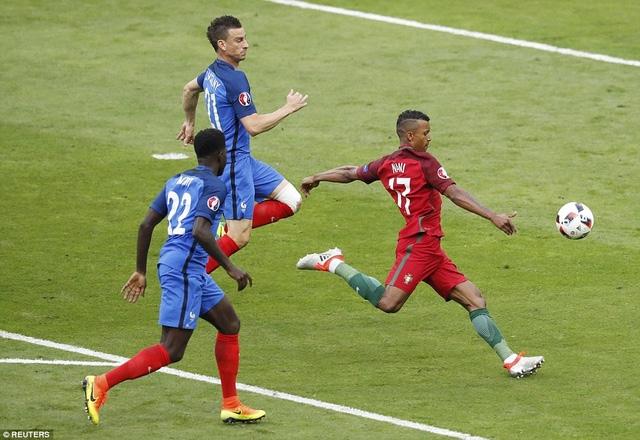 Nani trong tình huống bỏ lỡ cơ hội ghi bàn ở đầu trận