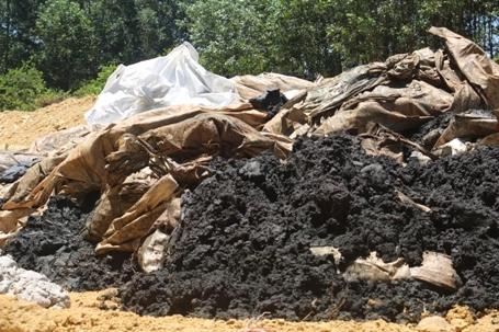 Chất thải chôn lấp được phát hiện tại khu trang trại của GĐ Cty môi trường đô thị Hà Tĩnh (ảnh: Văn Dũng).