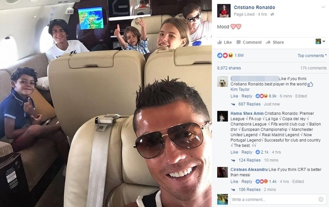 Fan Việt làm loạn trang facebook của Ronaldo - Ảnh 1.