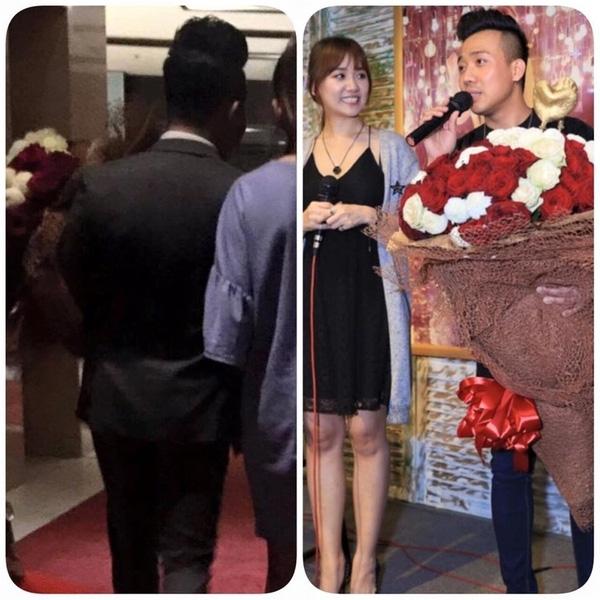 Bó hoa Trấn Thành tặng 2 lần cho Hari Won bị bỏ lại tại địa điểm họp báo
