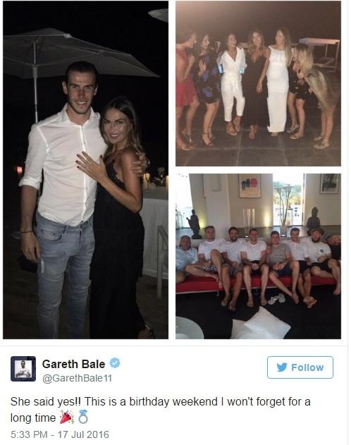 Bạn gái chính thức nhận lời cầu hôn của Gareth Bale - Ảnh 1.