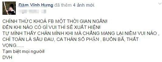 Đàm Vĩnh Hưng khóa facebook 3