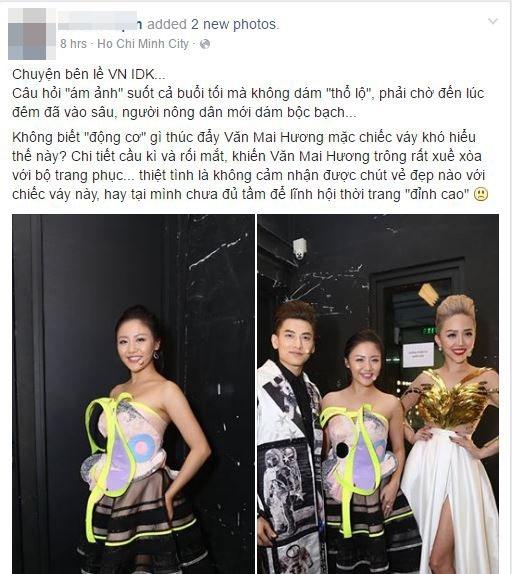Váy của Văn Mai Hương bị chê tơi tả vì thiết kế khó hiểu