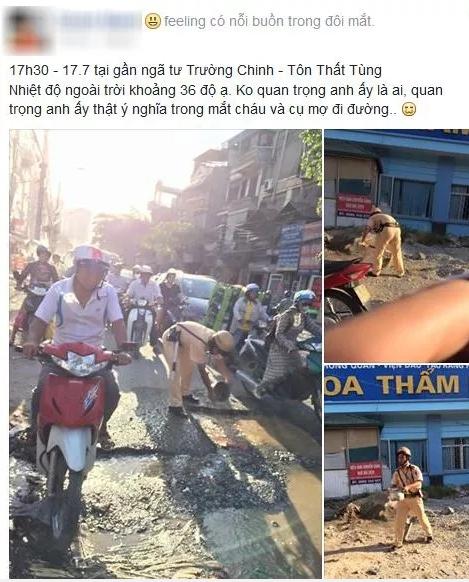 Hành động bất ngờ của chiến sĩ CSGT dưới trời nắng nóng gây sốt mạng - Ảnh 1