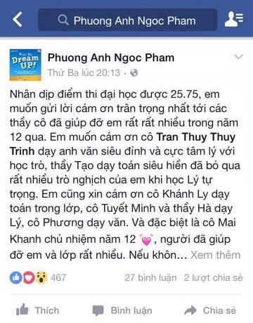 Phương Anh chia sẻ niềm vui trên facebook cá nhân.