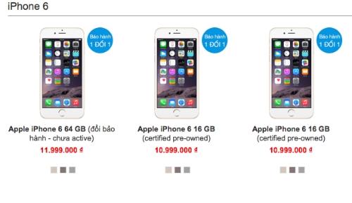 Những chiếc iPhone 6 hàng Pre-Owned được bán với giá rẻ hơn hàng mới 100% và chính hãng vài triệu đồng.