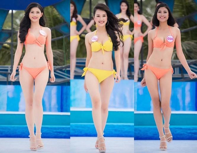 Từ trái sang: Ngô Thanh Thanh Tú, Lê Trần Ngọc Trân, Đào Thị Hà… có nhiều lợi thế nhờ gương mặt thanh tú, lần đầu tham dự một cuộc thi nhan sắc và ngoại hình đẹp