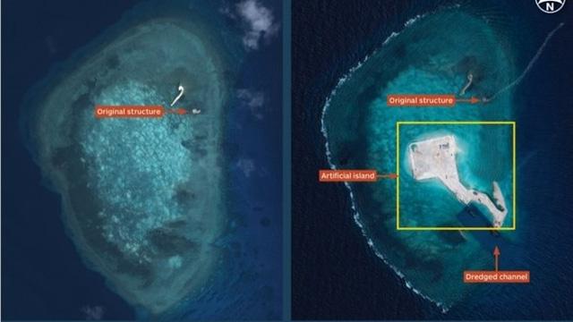 Trung Quốc bồi đắp và xây dựng phi pháp tại đá Gaven thuộc quần đảo Trường Sa của Việt Nam (Ảnh: IHF Janes)
