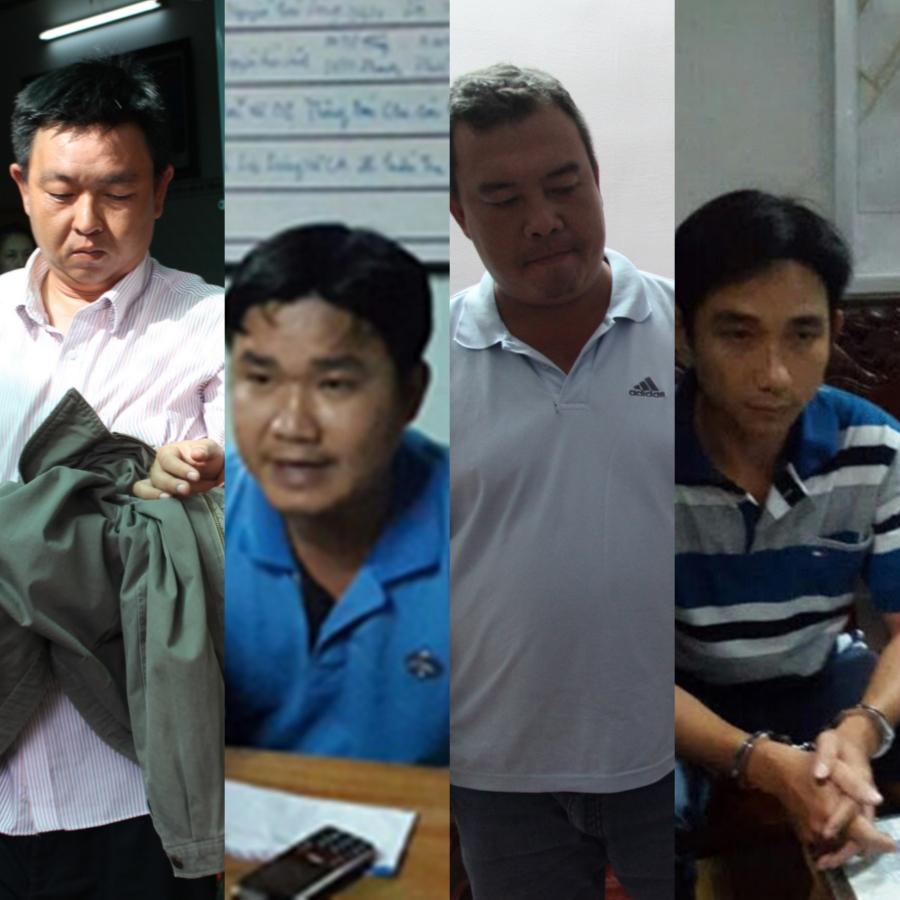 4 đối tượng (từ trái qua): Hoàng Anh, Minh, Duy và Cần. Ảnh: Công an TP Cần Thơ cung cấp.
