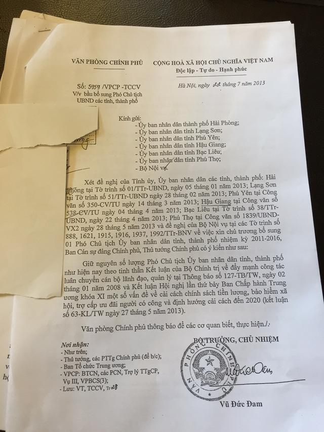 Thông báo ý kiến của Thủ tướng Chính phủ, giữ nguyên số lượng Phó chủ tịch UBND tỉnh Hậu Giang đã không được Bộ Nội vụ đưa vào tờ trình.
