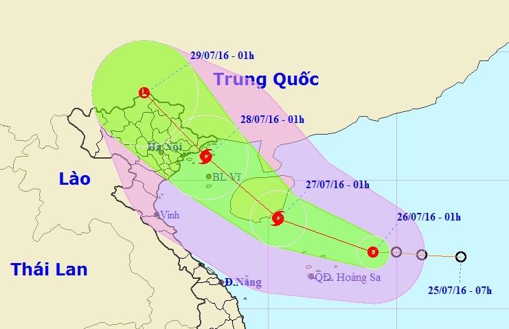 Vị trí và hướng di chuyển của Áp thấp nhiệt đới trên Biển Đông (Ảnh: TTDBKTTVTƯ).