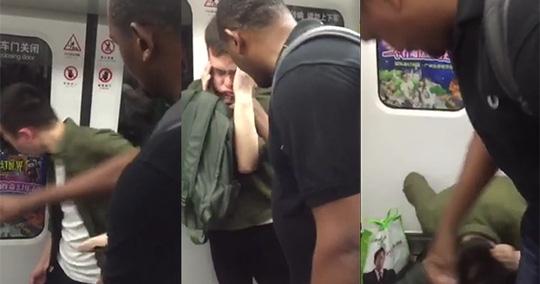Thanh niên Trung Quốc bị tát trên tàu điện ngầm. Ảnh: SHANGHAIIST