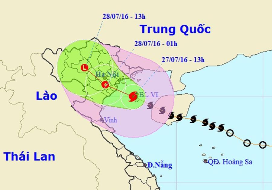 Vị trí và hướng di chuyển của bão số 1 (Ảnh: TTDBKTTVTƯ).