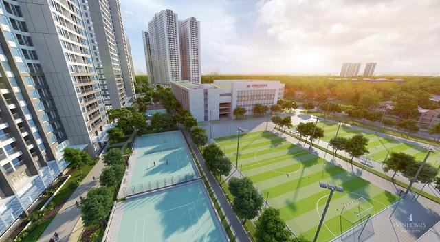 Khu thể thao ngoài trời và trường liên cấp chất lượng cao Vinschool ngay tòa Park 12