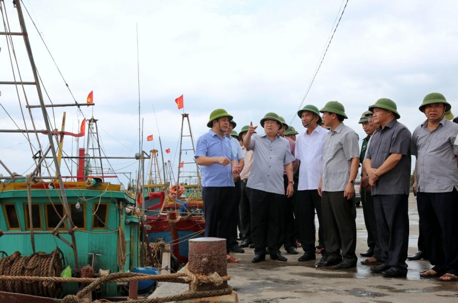 Phó Thủ tướng Trịnh Đình Dũng kiểm tra nơi neo đậu tàu thuyền của ngư dân tại tỉnh Thái Bình.