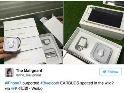 Rò rỉ ảnh iPhone 7 đi kèm tai nghe không dây