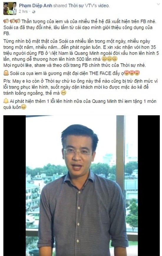 BTV Quang Minh, bản tin thời sự 19h, người đàn ông thời sự, BTV Diệp Anh