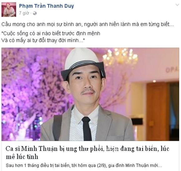 Sao Việt sốc trước tin Minh Thuận ung thư 4