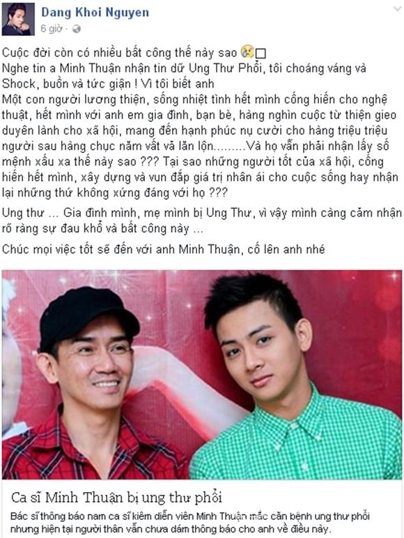 Sao Việt sốc trước tin Minh Thuận ung thư 1