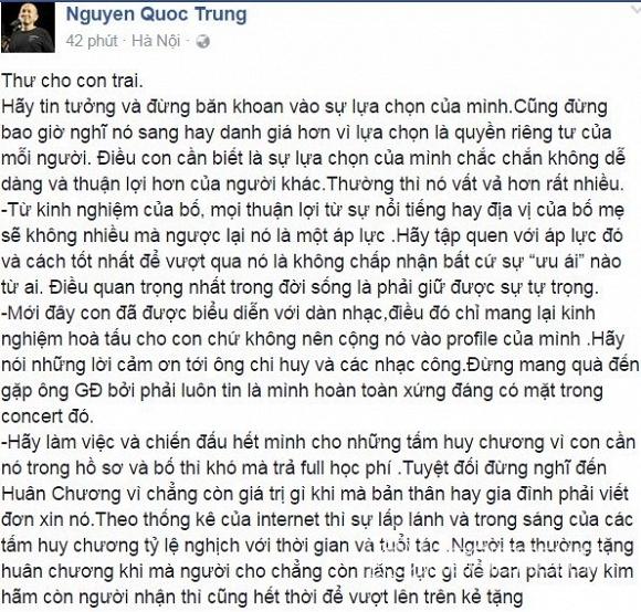 Quốc Trung gửi thư cho con trai  2