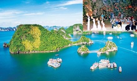 Một góc Vịnh Hạ Long (ảnh lớn), tổ chức tiệc trong hang động (ảnh nhỏ). Ảnh: PV.