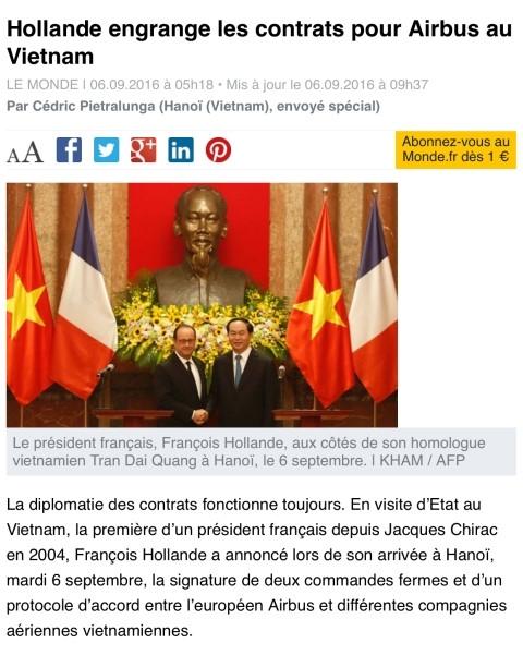 Tin về chuyến thăm Việt Nam của Tổng thống Pháp Hollande trên tờ Le Monde.