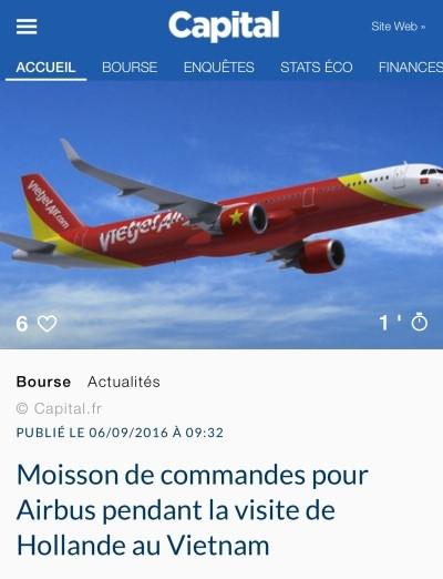 Tờ Capital nêu bật khía cạnh kinh tế trong chuyến thăm của ông Hollande.
