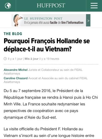 Tin về chuyến thăm của ông Hollande trên tờ Huffington Post.