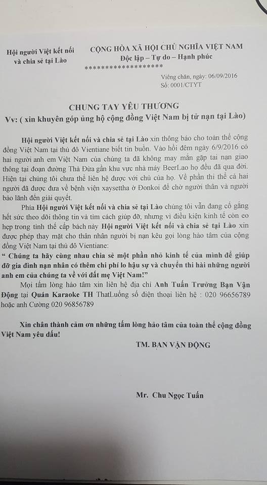 Cộng đồng người Việt tại Lào kêu gọi đóng góp đưa thi thể nạn nhân về nước.