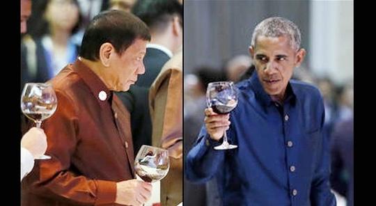 Tổng thống Mỹ Barack Obama và người đồng cấp Philippines Rodrigo Duterte đã bắt tay và có cuộc trò chuyện ngắn. Ảnh: inquirer