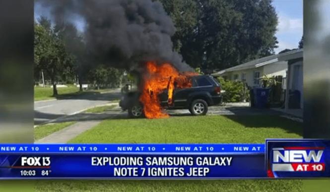 Chiếc xe bị bốc cháy vì Galaxy Note 7  /// Ảnh chụp màn hình FOX 13 News