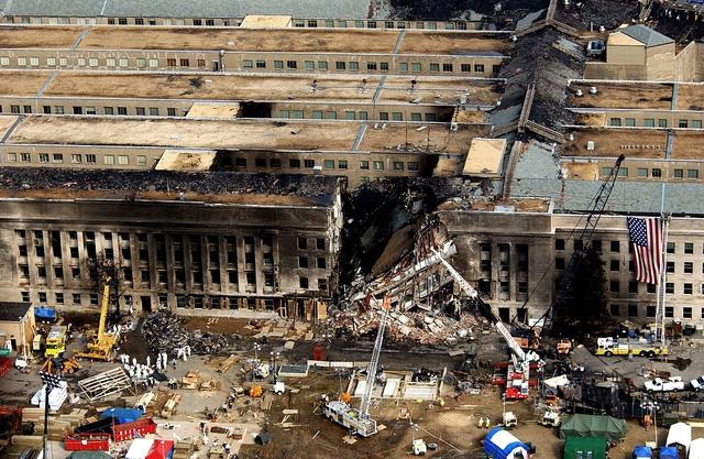 Một góc Lầu Năm Góc nơi máy bay 77 đâm trúng ngày 11/9/2001 (Ảnh: Wikipedia)