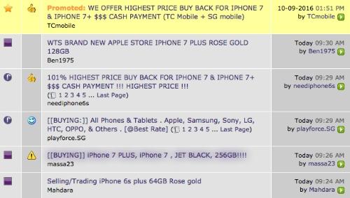Những lời chào mời thu gom iPhone 7 và iPhone 7 Plus ở chợ đen Singapore.