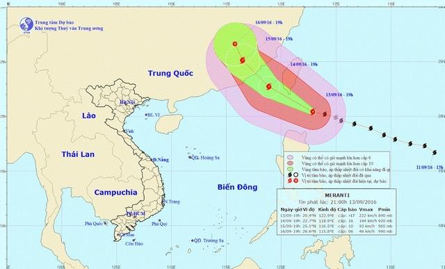 Vị trí và hướng di chuyển của siêu bão Meranti (Ảnh: NCHMF).