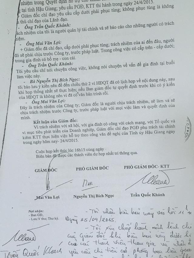 Tranh cãi gay gắt về việc chuyển tiền cho Tỉnh ủy Hậu Giang. 2 Phó giám đốc phản đối nhưng ông Mai Văn Lợi vẫn dùng quyền cưỡng ép thực hiện. Sau này, ông Trần Quốc Khánh phải rời bỏ chức vụ Phó Giám đốc.