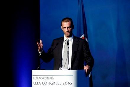 Ông Aleksander Ceferin trong thời khắc nhậm chức Chủ tịch UEFA.