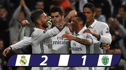 Ghi 2 bàn trong 5 phút cuối, Real ngược dòng thần kỳ trước Sporting