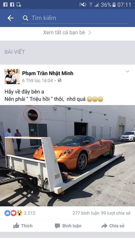 Hình ảnh chiếc Pagani Huayra được Minh Nhựa chia sẻ khi còn ở nước ngoài tố cáo địa điểm mua xe là đại lý Al Ain Class Motors.