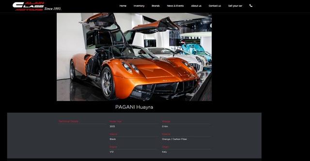 Thông tin về chiếc Pagani Huayra trên trang web của đại lý Al Ain Class Motors, Dubai.