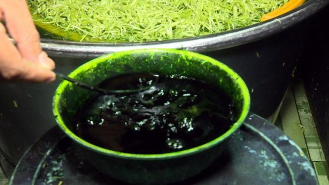Một cơ sở ngâm rau muống bào với hóa chất màu xanh
