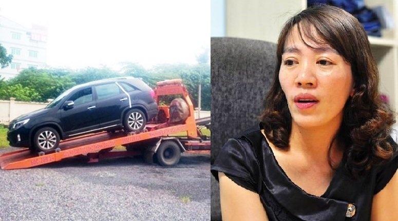 nữ tài xế, cẩu xe, cẩu cả xe và người, nữ tài xế bị cẩu xe