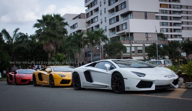 Dẫn đầu đoàn là chiếc Lamborghini Aventador LP700-4 có ngoại thất trắng, được phân phối chính hãng duy nhất tại thị trường Việt Nam, phía sau là hai chiếc Aventador nổi bật trong bộ áo vàng và cam.