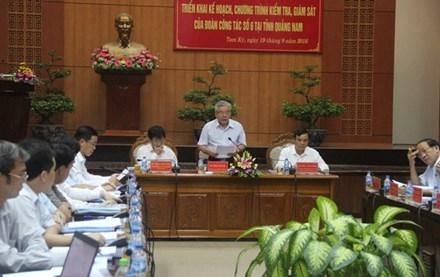 Đoàn công tác số 6 do ông Phan Văn Sáu – Tổng Thanh  tra Chính phủ làm trưởng đoàn làm việc với tỉnh Quảng Nam. Ảnh H. Văn
