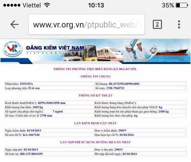 Thông tin đăng tải trên web đăng kiểm Việt Nam.