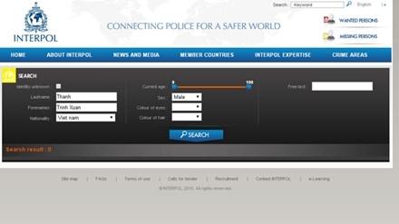 Đến ngày 19/9, tên ông Trịnh Xuân Thanh chưa xuất hiện trên mạng Interpol