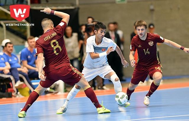 ĐT Futsal Việt Nam không thể tạo ra bất ngờ trước ĐT Nga ở vòng 1/8.