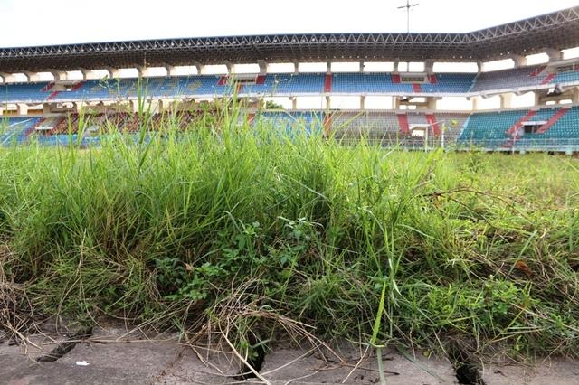 Nhiều năm không sử dụng, cỏ trên sân mọc um tùm.